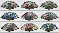 Dance Foldable Fabric Flower Print Lace Trim Hand Fan Multi-Pattern Decoration