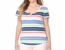 Chaps Womans Plus Size Striped Henley Cotton Knit Top Short Sleeve New $50