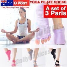 Women Soft 5 Toes Yoga Pilates Dance Ballet Toeless Grip Non-Slip Socks OZ