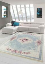Alfombra flores sala de estar alfombra lavable en azul crema