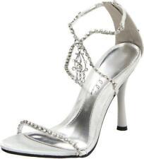 "ELLIE SHOES Silver 4.5"" Heel Criss-Cross Rhinestone Strap Closed Heel Sandal"