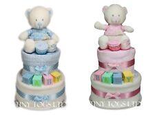 BABY BOY GIRL TWO TIER NAPPY CAKE CUTE TEDDY ABC BLOCKS BABY SHOWER