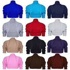 Womens Ladies Ribbed Front Open Cardigan Plain Cap Short Sleeve Bolero Shrug Top