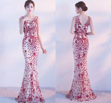 Women Fishtail Sequine Floral Evening Dress Formal  V Collar  Long Banquet Dress