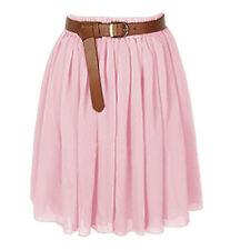Pink Women Lady Chiffon Pleated Mini Skirts Retro High Waist Double Layer Girl