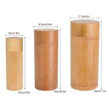 Bamboo Storage Box Kitchen Tea Container Jar Case Organizer Spice Round Home