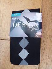 MARKS & SPENCER BLACK WITH GREY DIAMOND DESIGN TIGHTS S M BNWT