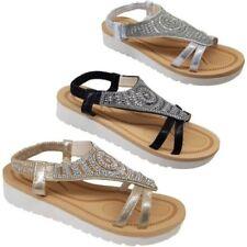 da donna con spalline elastico Cinturino Scarpe strass moda Forma Piatta Sandali