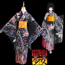 Hell-girl Jigoku Shojo Enma ai Cosplay Costume Kimono Schwarz Lolita Maid Kleid