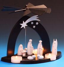 Teelicht Pyramide Black Christi Geburt mit Hirte Schalling Seiffen Erzgebirge
