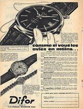 PUBLICITE ADVERTISING   1959    DIFOR   montre 25 rubis incabloc