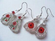 Poppy flower dangle earrings - hand painted english sea glass silver ear wires