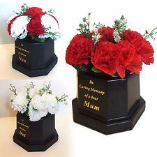 Tombe Vase & Carnation Fleurs, or texte-rouge, blanc creme pot hommage funéraire