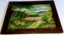 Landschaftsgemälde vor 1945-Maler unbekannt-original auf Pappe im Holzrahmen