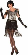 Enchanted Flapper Roaring 20's Black Fancy Dress Up Halloween Adult Costume