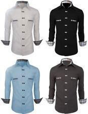 Men's Casual Shirt Double Button Slim Fit Long Sleeve Formal Dress Shirt Tops