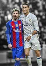 Messi & Ronaldo Real Madrid Barcelona Barca arte cartel impresión fotográfica A3 A4