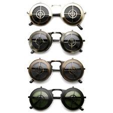 Flip Up Bullseye Sunglasses (Choose Your Color) Steampunk Crosshair Costume