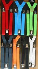 bretelles  suspenders unies blanc, noir, bleu, rouge, orange, gris, vert