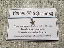 Happy 30th Birthday Wish * Wish Bracelet * Friendship * Gift * Greeting *