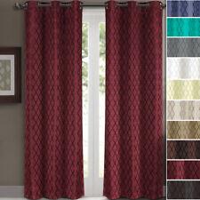 2 Panels Willow Thermal Blackout Grommet Window Geometric Jacquard Curtain Set