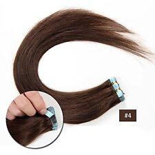 Tape In  Hair Extensions 100% Virgin Human Hair Extension Medium Brown #4