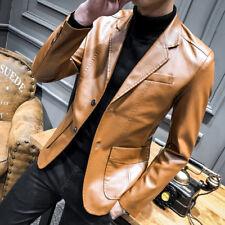 Mens Formal Dress Blazer Leather Jacket Business Casual Slim Wedding Party Coat