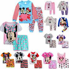 Kids Baby Girls Mickey Minnie Mouse Sleepwear Outfits Cartoon Pyjamas Pj's 1-8 Y