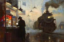 Canvas Print Oil painting Picture Train platform Scenes on canvas L675