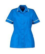NURSES HEALTHCARE TUNIC, DENTAL SALON. HOSPITAL BLUE WITH WHITE TRIM. INS32HB