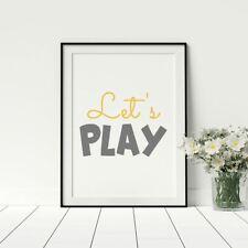 Lets Play Child's Nursery Poster Bedroom Kids Artwork Fun Prints Yellow Grey