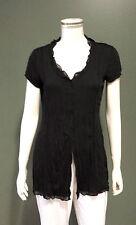 EVERSUN Women's Short Sleeve Crushed Jersey Blouse Black Size 10,12,14,16,18,20