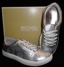 NIB MICHAEL KORS GirlsGenoa Silver Fashion Sneakers(Sizes 13 1 2 3 4 5) NEW