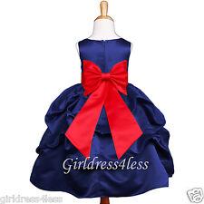 Navy Blue Christmas Holiday Girl Formal Pick Up Dress 6M 12M 18M 2 4 5/6 8 10 12