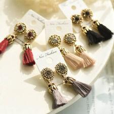 EE_ GN- Women Vintage Baroque Style Hollow Rhinestone Tassel Long Dangle Earring