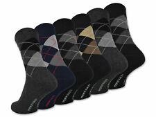 6 o 12 Pares Calcetines de Hombre Estampado Cuadros Algodón