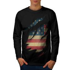 Bandera de colección país USA Hombre Manga Larga T-shirt new   wellcoda
