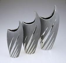 Blumenvase Vase grau silber Deko Blumen modern Vase Dekoration Tischdeko Trend