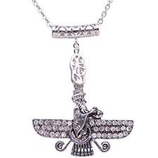Large Silver Pt Crystal Farvahar Faravahar Necklace Iranian Persian Farohar Art