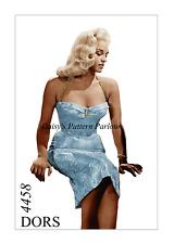 1950s Vintage Sewing Pattern Sujetador de cabestro Wiggle Dress bala Diana Dors 1950