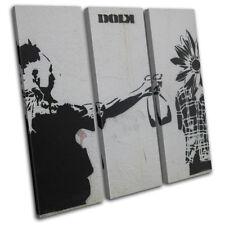 Graffiti Pop Dolk Banksy Street TREBLE DOEK WALL ART foto afdrukken