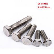 5/10/20/50pc DIN933 M6 M8 M10 A2 304 Stainless Steel Hex Cap Screw Hex Head Bolt