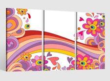 Leinwandbild 3 Tlg Blume Kinderzimmer Leinwand Bilder Holz 9AB1430