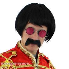 1960S pop sergent costume robe fantaisie set avec rouge hippy lunettes, perruque + tash