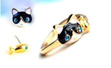Muy de gato encantador y peces pendientes, Broche, Anillo, Collar, o puesto