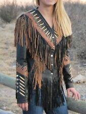 Women Western Jacket Fringes beads bones  Ladies  Leather Jacket Native American