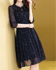 Womens Fashion Galaxy Print Falbala 3/4 Sleeves Bowtie Flared Chiffon Dress SBEA