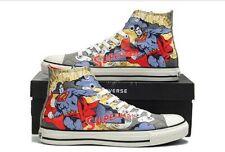 Converse Superman Unisex Zapatillas Hi Top Entrenador Botas raras impresión Comic Raro Nuevo