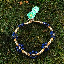 HOTI Hemp Handmade Natural Navy Blue Flower Wood Bead Anklet Ankle Bracelet NWT