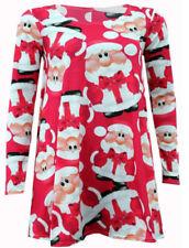 WOMENS LADIES XMAS LONG SLEEVE SANTA CHRISTMAS SWING DRESS Lot D1